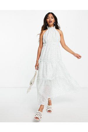 Lost Ink Kvinder Mønstrede kjoler - Midaxi-kjole i småblomstret print med halterneck og lagdelt nederdel