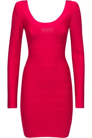 HERVÉ LÉGER Long Sleevestretch Jersey Mini Dress