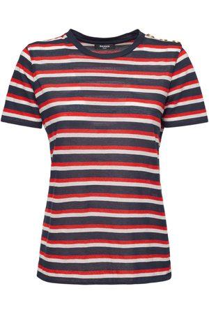 Balmain Cotton Jersey Striped T-shirt