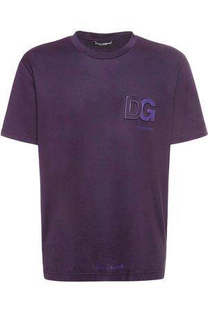 Dolce & Gabbana Mænd Kortærmede - Logo Embossed Cotton Jersey T-shirt