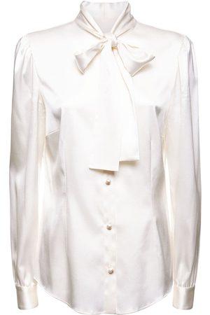 Dolce & Gabbana Kvinder Bluser - Silk Twill Shirt W/bow