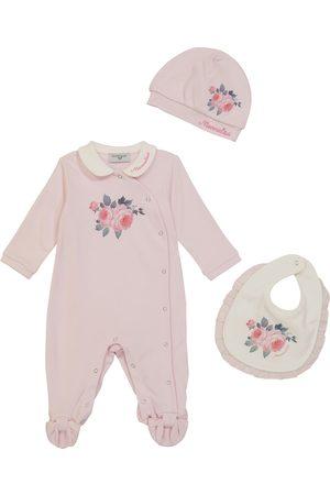 Monnalisa Babysæt - Baby floral cotton onesie, bib and hat set