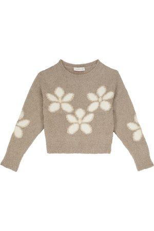Monnalisa Floral lamé sweater