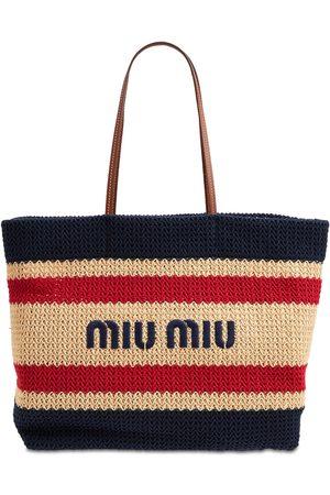 MIU MIU Logo Striped Cotton & Leather Tote Bag