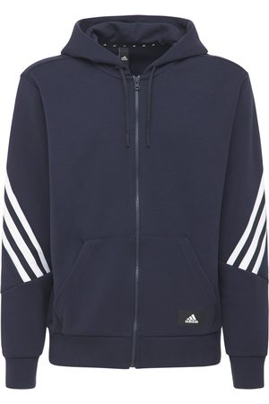 adidas Mænd Hoodies - 3 Stripes Hooded Cotton Blend Track Top