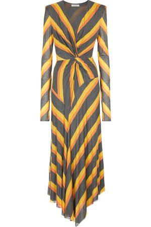 Serafini Striped jersey midi dress