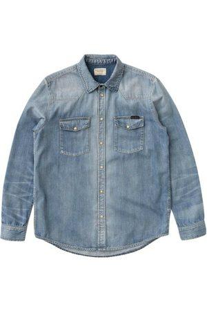 Nudie Jeans Mænd Denimskjorter - George Blue Tribe Denim Shirt