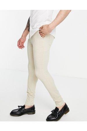 ASOS DESIGN Elegante skinny-bukser i vaffeltekstur-Neutral
