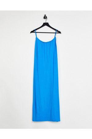 ASOS Kvinder Midikjoler - Klar blå midi-sundress med samlet hals, tynde stropper og lommer