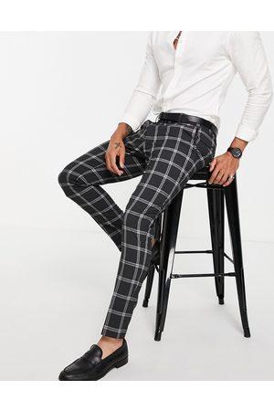 ASOS DESIGN Koksgrå skinny-habitbukser i Prince of Wales-tern