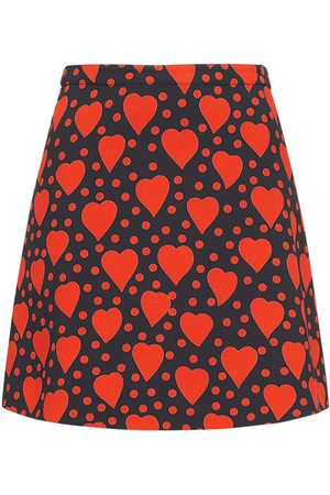 Saint Laurent Kvinder Mønstrede nederdele - Heart Print Viscose Mini Skirt