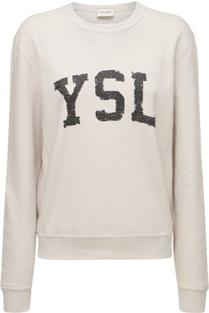 Saint Laurent Kvinder Sweatshirts - Logo Cotton Sweatshirt