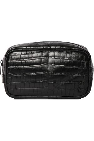 SAINT LAURENT Mænd Toilettasker - Ysl Croc Embossesd Leather Cosmetic Bag