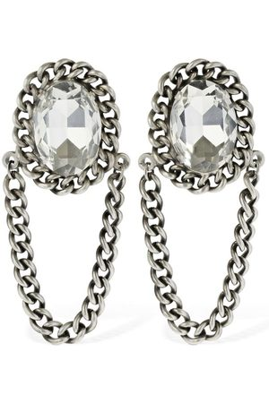 Alessandra Rich Oval Crystal Earrings W/ Hanging Chain