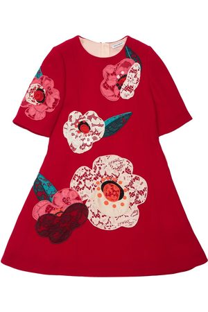 Dolce & Gabbana Floral Embroidered Wool Dress