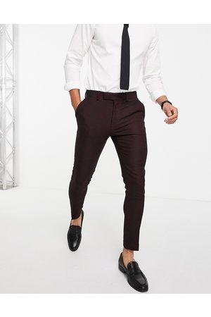 ASOS DESIGN Wedding - Bordeauxfarvede super skinny habitbukser i uldblanding