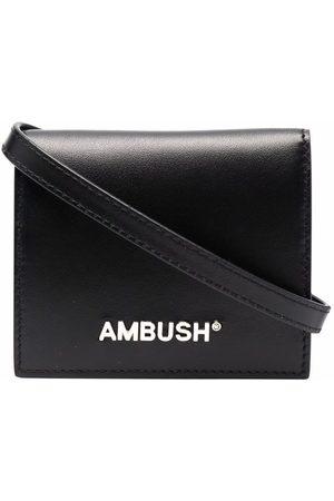 AMBUSH CARD WALLET WITH LEA STRAP BLACK SILVER