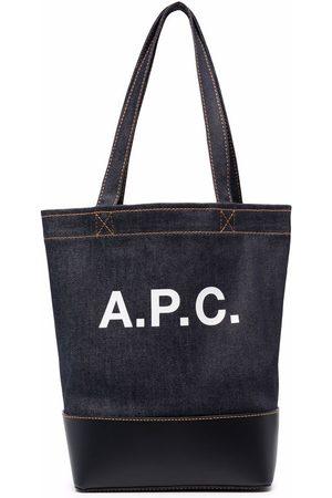 A.P.C. Denim-skuldertaske med logo