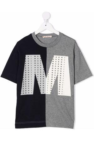 Marni Two-tone logo-print T-shirt