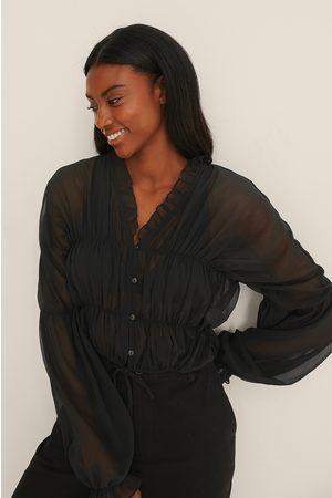 NA-KD Kvinder Bluser - Bluse I Chiffon Med Elastisk Talje