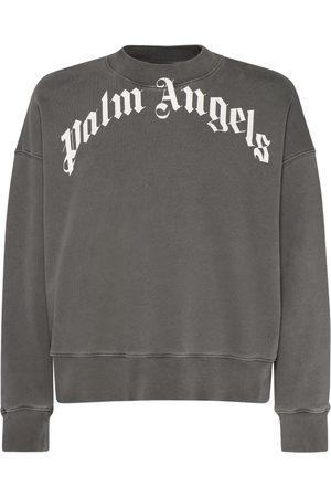 Palm Angels Curved Logo Cotton Jersey Sweatshirt