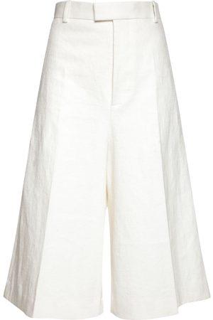 BOTTEGA VENETA Kvinder Shorts - Wide Leg Linen Bermuda Shorts