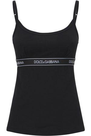DOLCE & GABBANA Logo Band Cotton Jersey Camisole Top