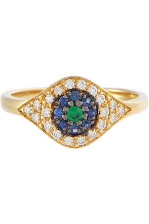 Ileana Makri Cats Eye 18kt gold ring with diamonds, sapphires and tsavorite