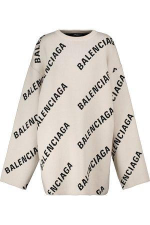Balenciaga Logo jacquard cotton and wool-blend sweater