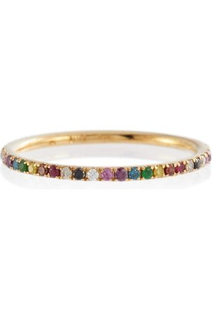 Ileana Makri Thread Band 18kt gold ring with diamonds, rubies and sapphires