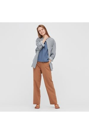 UNIQLO Women Linen Blend Relaxed Fit Straight Leg Trousers (Long)