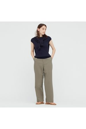 UNIQLO Women Linen Blend Relaxed Fit Straight Leg Trousers