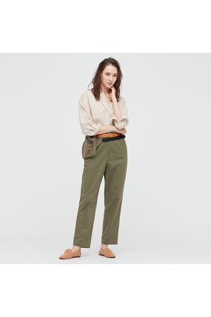 UNIQLO Women Linen Cotton Blend Tapered Fit Trousers