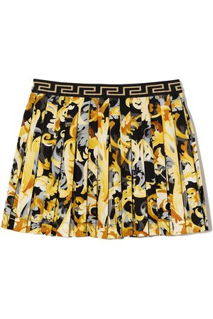 VERSACE Baroque-print pleated skirt