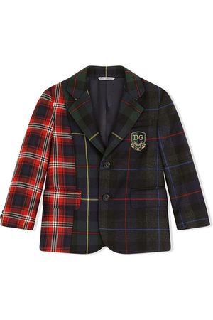 Dolce & Gabbana Skotskternet blazer med patchwork