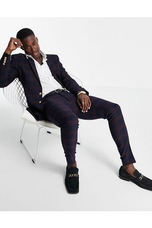 ASOS Super Skinny-habitbukser i ternet bordeaux med guldknapper
