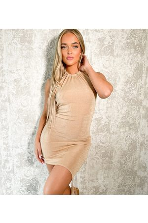 AsYou Kvinder Asymmetriske kjoler - Kjole med halterneck og asymmetrisk knudekant i neutral