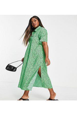 Wednesday's Girl Curve Kvinder Mønstrede kjoler - Smock-midikjole med småblomstret print i afslappet pasform