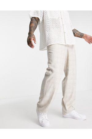 ASOS Mænd Chinos - Elegante hørbukser med vide ben og Prince of Wales-tern-Neutral
