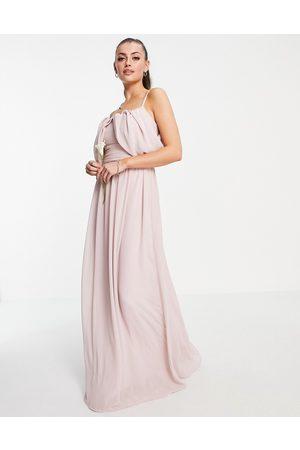 TFNC Kvinder Asymmetriske kjoler - Tall - Brudepiger - Brun maxikjole med draperet skulder og asymmetrisk snit-Lyserød