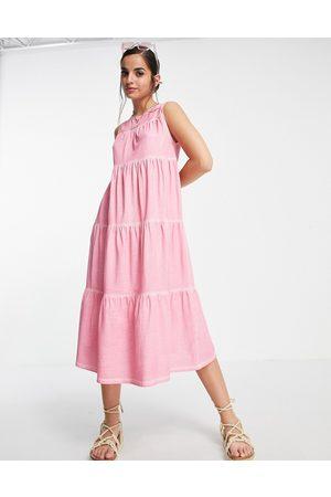 ASOS DESIGN Kvinder Ærmeløse kjoler - Ærmeløs lagdelt smock-midikjole i syrevasket -Lyserød