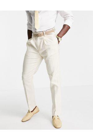 ASOS DESIGN Mænd Habitbukser - Wedding - Slim-habitbukser i hør med brede striber-Neutral