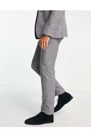ASOS DESIGN Smalle habitbukser med Prince of Wales-tern i uldblanding
