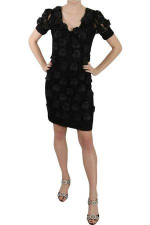 John Richmond Silk Leather Flowers Sheath Dress