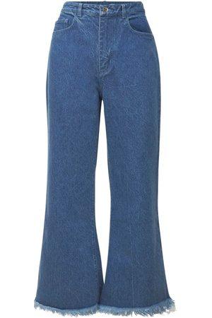 MARQUES'ALMEIDA Organic Cotton Denim Crop Flare Jeans
