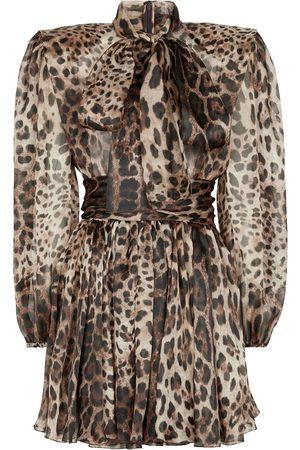 Dolce & Gabbana Leopard-print silk-blend minidress