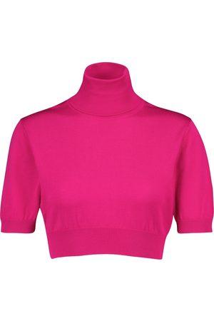 Dolce & Gabbana Turtleneck silk knit crop top