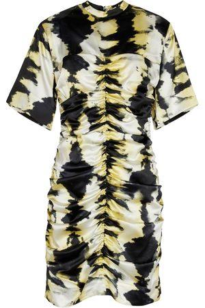 Ganni Tie-dye ruched stretch-silk minidress