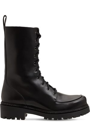 RENÉ CAOVILLA 25mm Embellished Leather Combat Boots