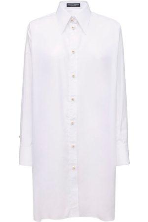 Dolce & Gabbana Poplin Shirt Dress W/back Lace Panel